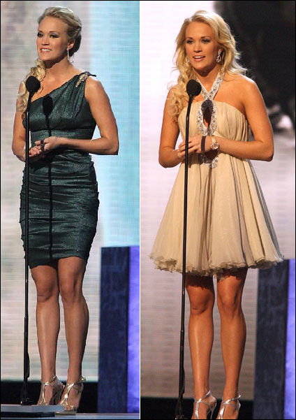 Carrie shows off her legs in dresses by Nicole Miller and Georges Chakras.