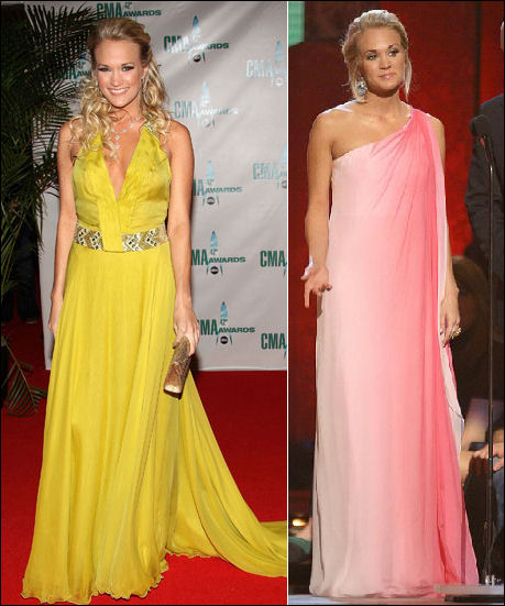 Carrie goes long in a yellow halter dress by Roberto Cavalli and a
