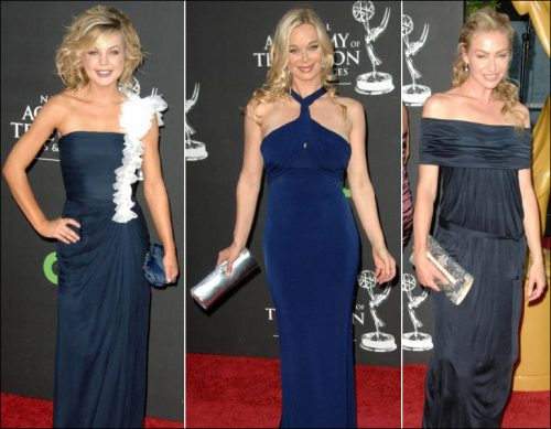 Kirsten Storms wore a navy silk chiffon one shoulder gown with white silk