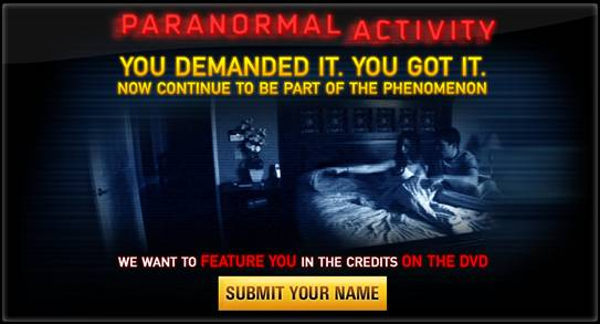 paranormal activity dvd to feature your name in movie credits