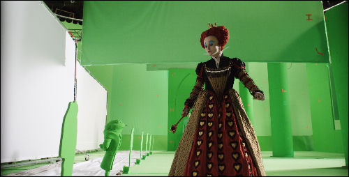 Alice in Wonderland movie Red Queen green screen
