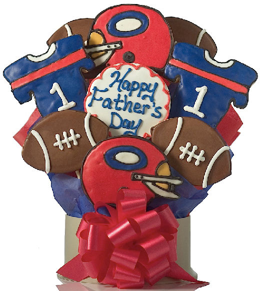 Fathers Day gift 2010 Edible Gift Plus football cookie bouquet
