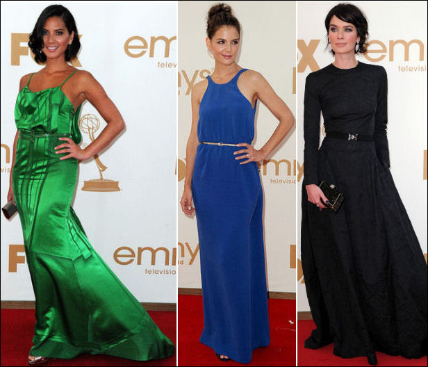 2011 EMMY red carpet dresses belted