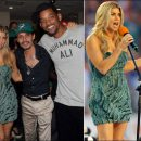Fergie performs in Nicole Miller at Dolphins game