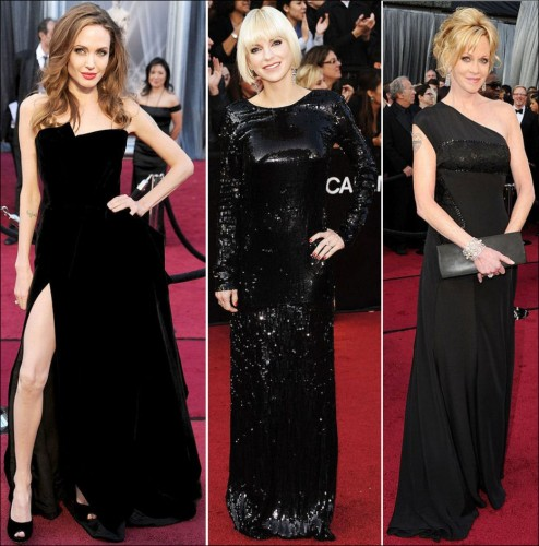 2012 oscar red carpet fashions dresses - Black and white red carpet dresses ...