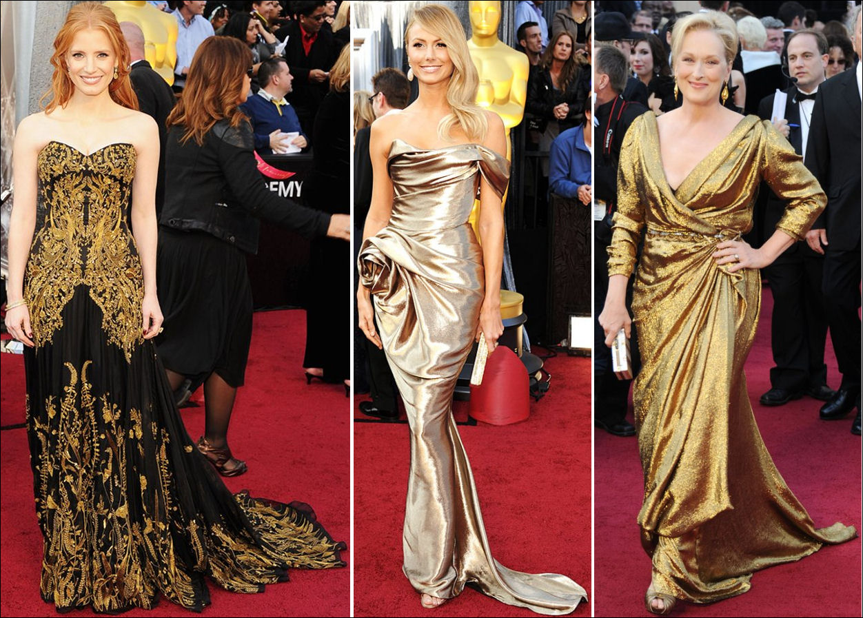 2012 Oscar red carpet dresses GOLD