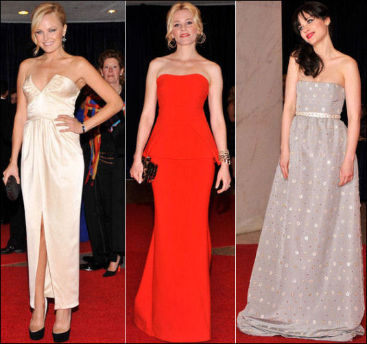 2012 White House Correspondents Dinner red carpet dresses fashion STRAPLESS