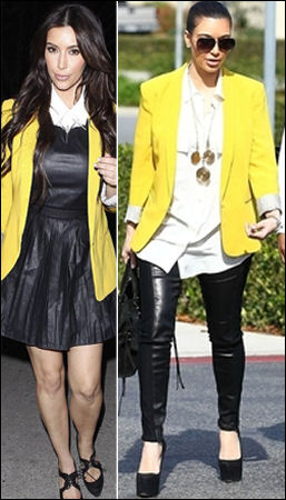 Kim Kardashian style fashion Rag & Bone yellow blazer