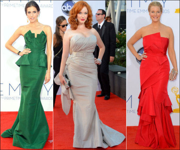 2012 Emmy Awards red carpet dresses STRAPLESS