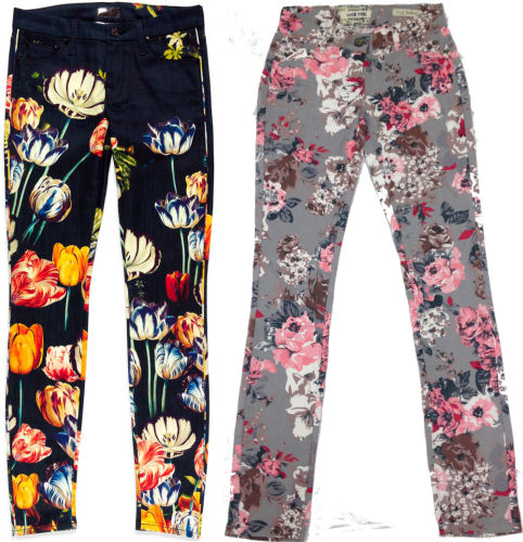 2012 FALL fashion trends FLOWER PRINT JEANS