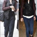 Copycats: Lily Collins & Kristen Stewart in AllSaints Leather Bomber