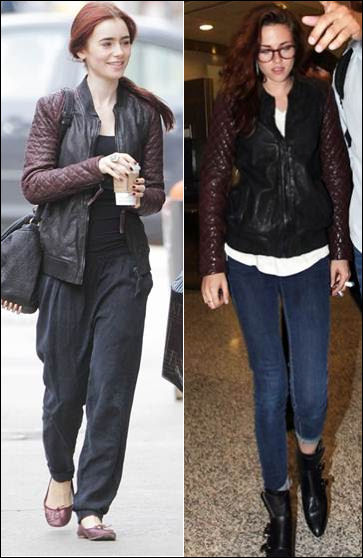 Lily Collins Kristen Stewart in AllSaints Leather Bomber