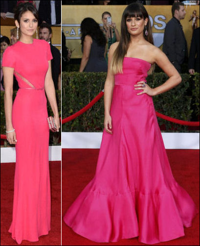 2013 SAG red carpet dresses hot pink