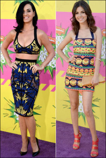 2013 Kids Choice Awards red carpet dresses katy perry victoria justice