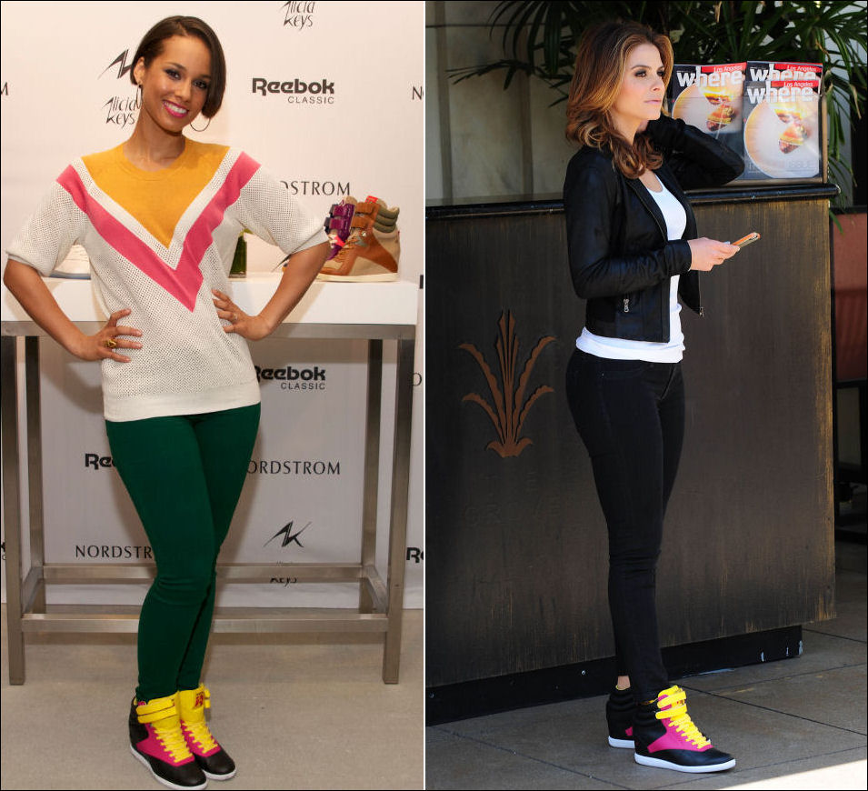 Alicia Keys Maria Menounos in Reebok Freestyle Hi Wedge A Keys sneakers