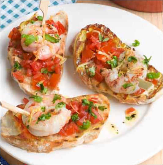 Mothers Day recipe Garlic Prawn Bruschetta recipe by Joan Lunden