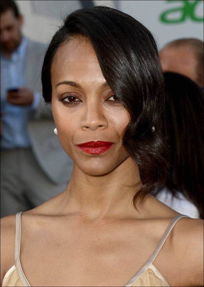 Zoe Saldana hairstyle Star Trek Into Darkness Hollywood Premiere
