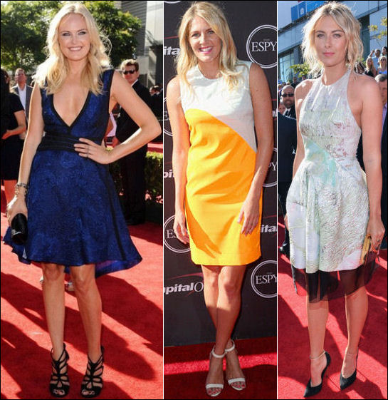 2013 ESPY Awards red carpet dresses Malin Akerman Stephanie Gilmore Maria Sharapova