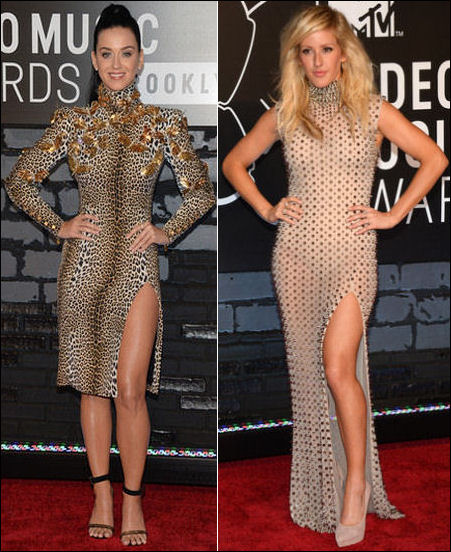 2013 MTV Video Music Awards vmas red carpet dresses katy perry ellie goulding
