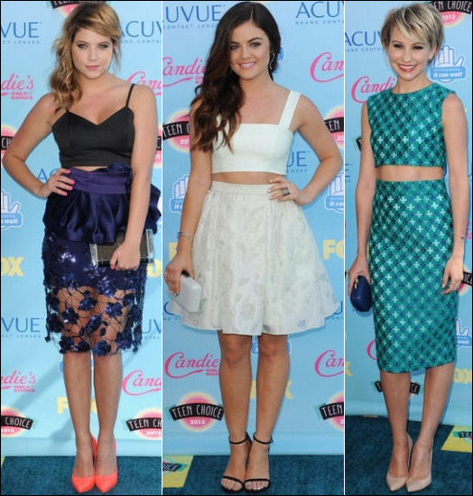 2013 Teen Choice Awards red carpet fashion Ashley Benson Lucy Hale Chelsea Kane