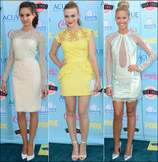 2013 Teen Choice Awards red carpet fashion Trojan Bellisario Holland Roden Anna Camp