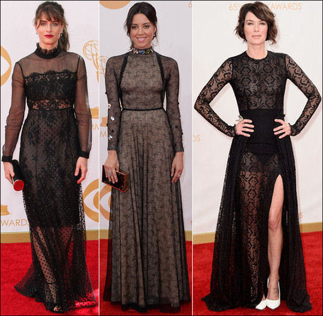 emmys dresses 2013 red carpet black lace