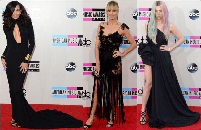 american music awards red carpet dresses black heidi klum kesha naya rivera