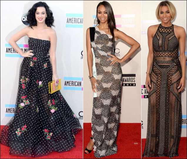 american music awards red carpet dresses 2013 katy perry zoe saldana