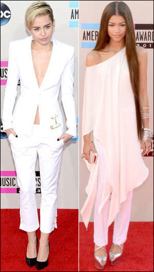 american music awards red carpet dresses 2013 miley cyrus zendaya coleman