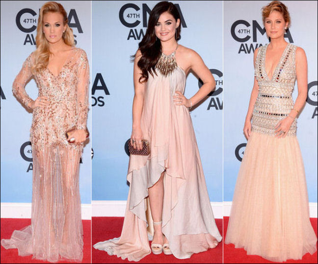 2013 cma red carpet dresses carrie underwood lucy hale jennifer nettles