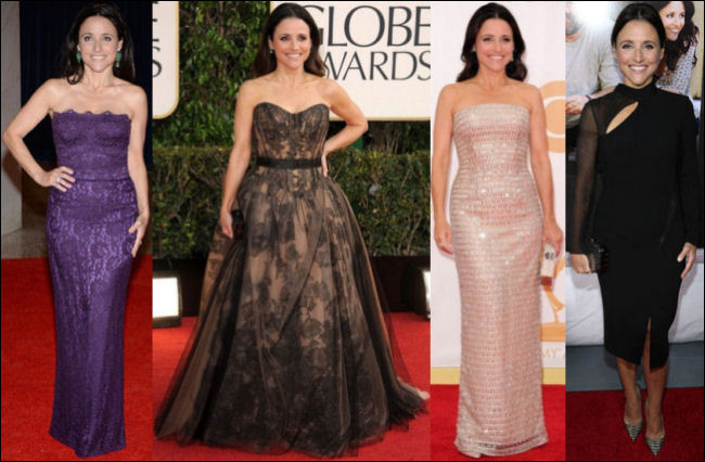julia louis dreyfus red carpet dresses