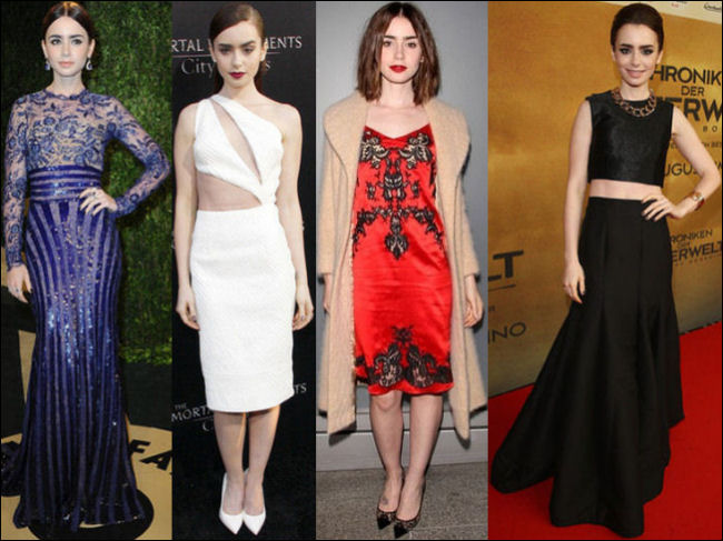 lily collins style red carpet dresses fashion