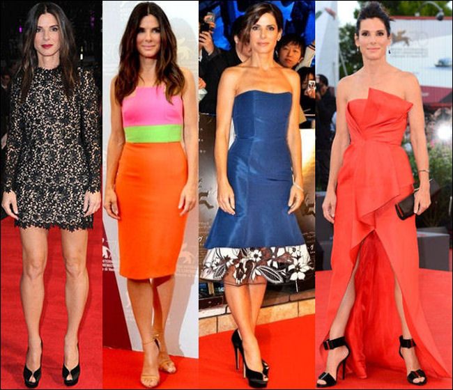 sandra bullock red carpet dresses 2013