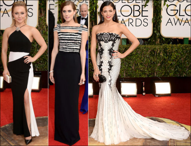 golden globes red carpet dresses 2014 black and white