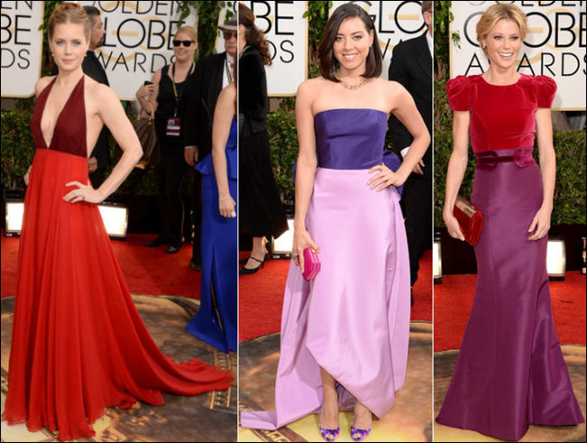 golden globes red carpet dresses 2014 color block dresses