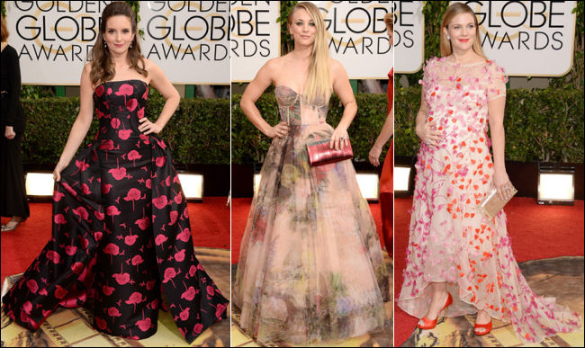 golden globes red carpet dresses 2014 florals dresses