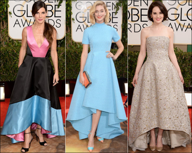 golden globes red carpet dresses 2014 high low hem