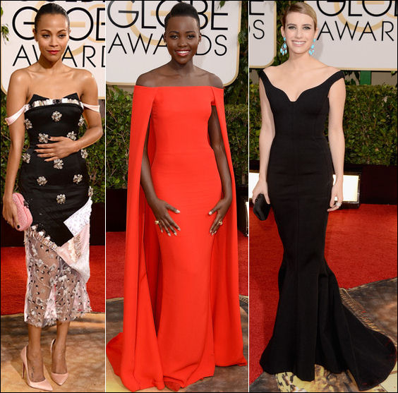 golden globes red carpet dresses 2014 off the shoulder dresses