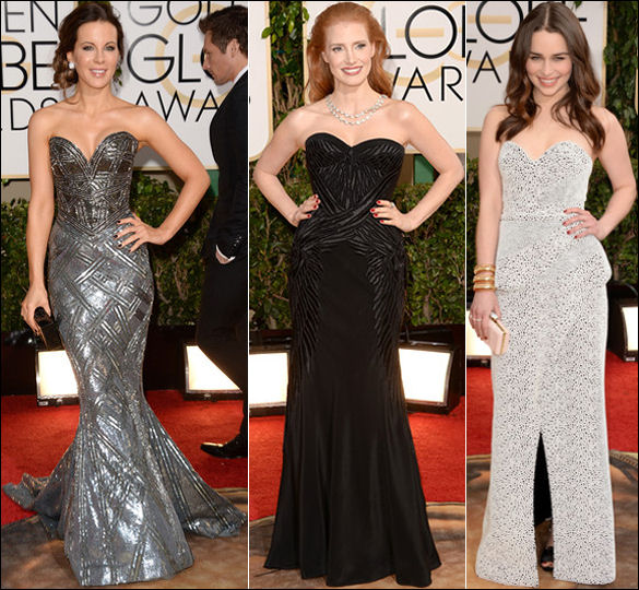 golden globes red carpet dresses 2014 sweetheart neckline