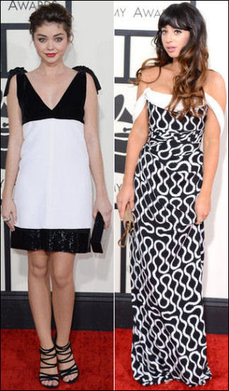 grammys red carpet dresses fashion 2014 black and white dresses