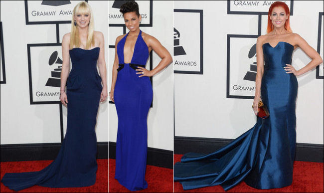 grammys red carpet dresses fashion 2014 blues