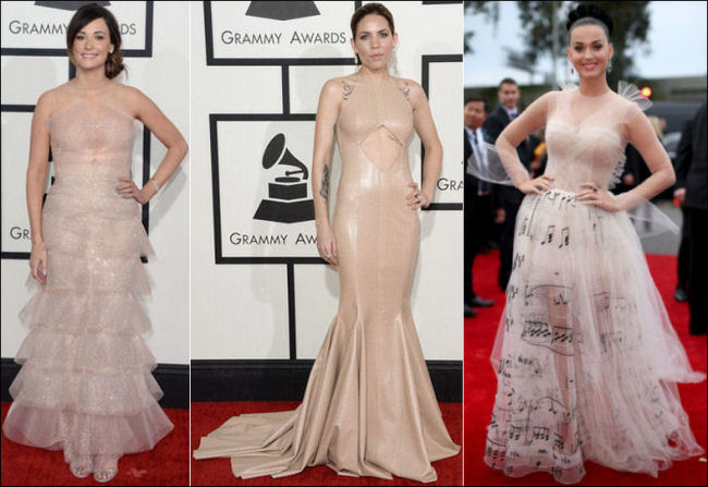 grammys red carpet dresses fashion 2014 nude