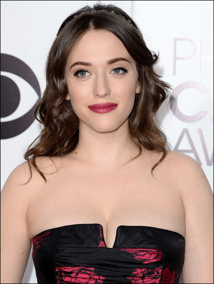 kat dennings makeup peoples choice awards 2014