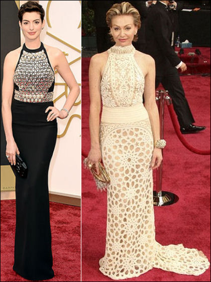 oscars 2014 red carpet dresses anne hathaway halter