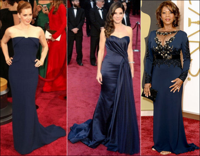 oscars 2014 red carpet dresses blues