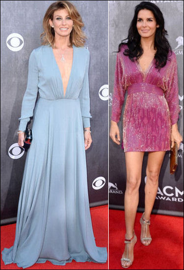 2014 acm awards red carpet dresses faith hill angie harmon