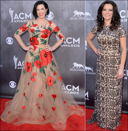 2014 acm awards red carpet flower print dresses
