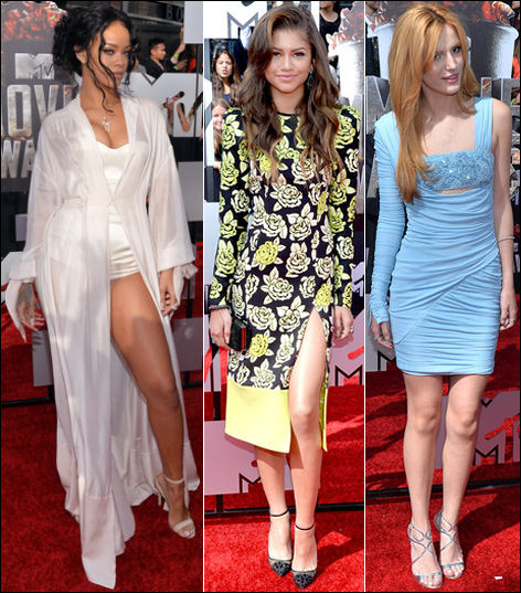 2014 mtv movie awards red carpet rihanna zendaya coleman bella thorne