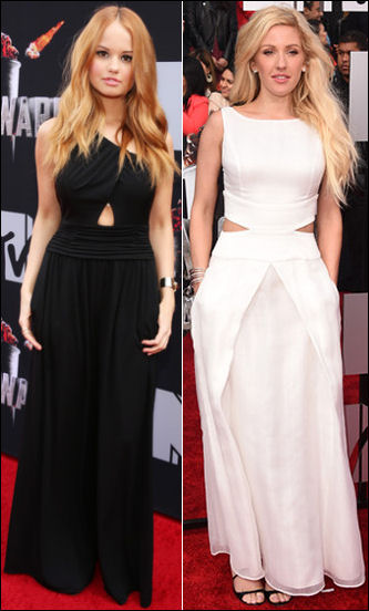 2014 mtv movie awards red carpet fashion debby ryan ellie goulding