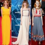 emma stone style spiderman 2 red carpet dresses